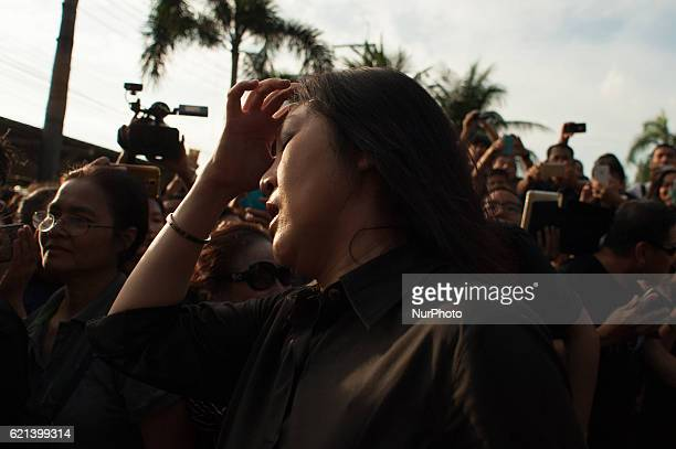 05 November 2016 former Thai Prime Minister Yingluck Shinawatra selling rice which she bought from farmers to supporters as part of her campaign to...