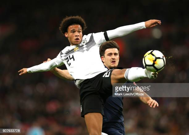 Friendly International Football Match England v Germany Leroy Sane of Germany stretches for the ball