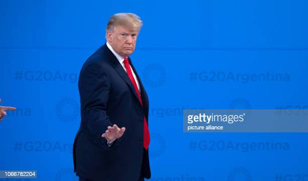 30 November 2018 Argentina Buenos Aires Donald Trump President of the United States waves his welcome at the G20 Summit Meeting Center in Buenos...