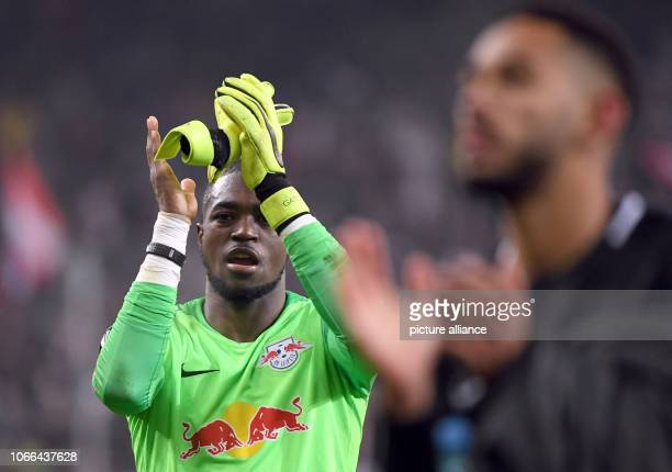 Soccer Europa League RB Salzburg RB Leipzig Group stage Group B 5th matchday Leipzig goalkeeper Yvon Mvogo and Matheus Cunha react after the defeat...