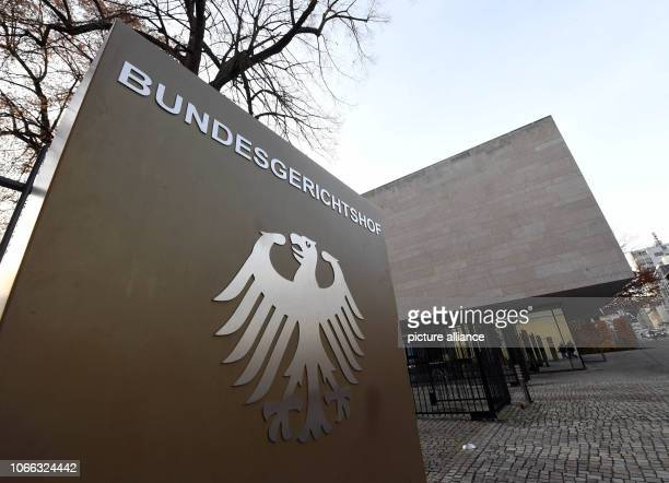 29 November 2018 BadenWuerttemberg Karlsruhe Exterior view of the Federal Court of Justice The First Civil Senate is discussing two art installations...