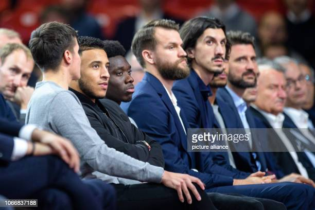 Soccer Bundesliga FC Bayern Munich Annual General Meeting in the Audi Dome Corentin Tolisso from FC Bayern Munich and Alphonso Davies newcomer from...