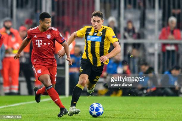 Soccer Champions League FC Bayern AEK Athens Group E Matchday 4 in the Allianz Arena Serge Gnabry from FC Bayern Munich and Ezequiel Ponce from...