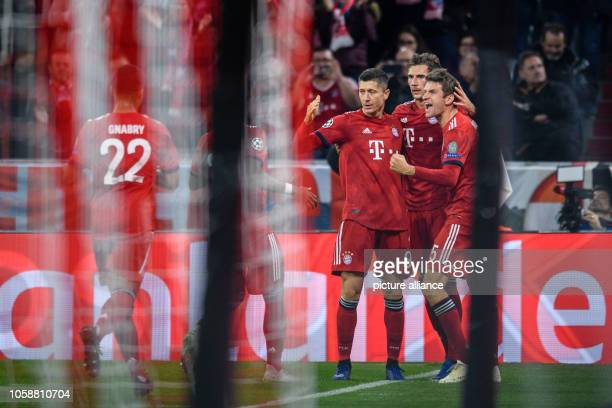 Soccer Champions League FC Bayern AEK Athens Group E Matchday 4 in the Allianz Arena Goal scorer Robert Lewandowski of FC Bayern Munich cheers with...