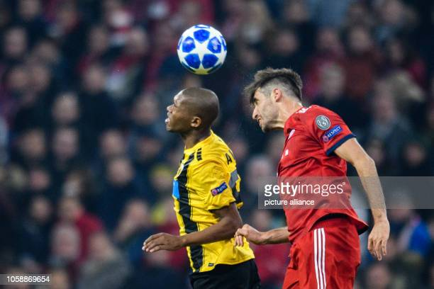 Soccer Champions League FC Bayern AEK Athens Group E Matchday 4 in the Allianz Arena Alef von Athen and Javi Martinez from FC Bayern Munich in a...