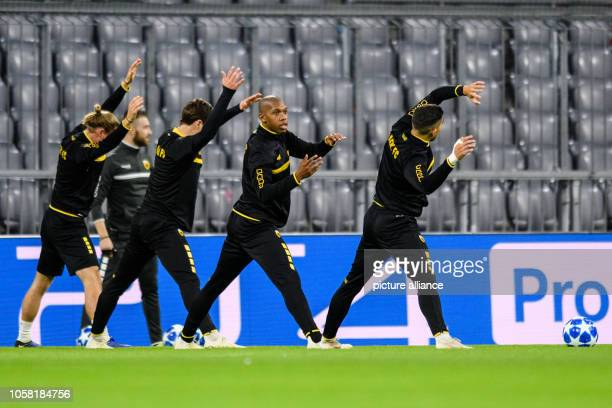 Soccer Champions League FC Bayern Munich AEK Athens Group E Matchday 4 Training AEK Athens in the Allianz Arena Alef of Athens trains with his team...