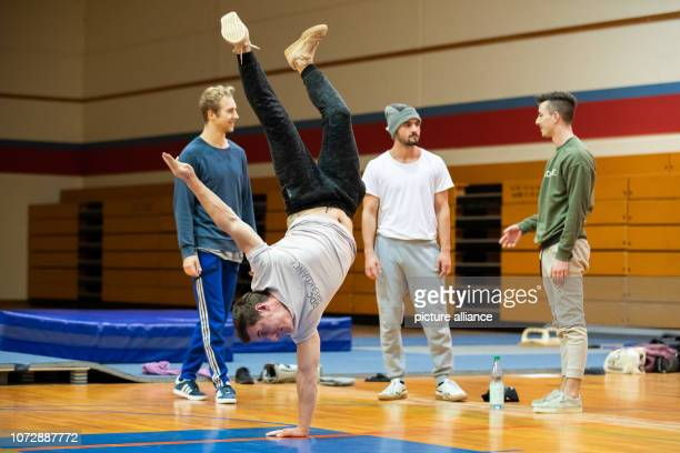 Kriz breakdancer of the breakdance group DDC practices during a training session In the background are his colleagues Raphael Enver and Timo Photo...