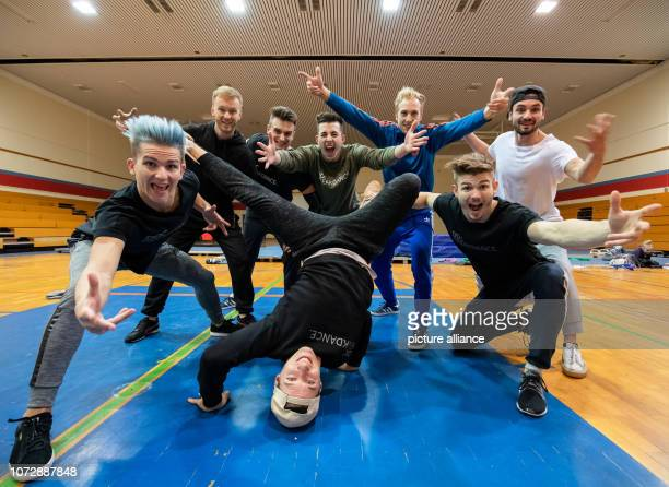 Kriz Marcel Gregory Marcel Timo Raphael Michi and Enver breakdancers of the breakdance group DDC are on the verge of a training session Photo Daniel...