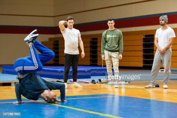 Raphael breakdancer of the breakdance group DDC practices during a training session In the background are his colleagues Kriz Timo and Enver Photo...