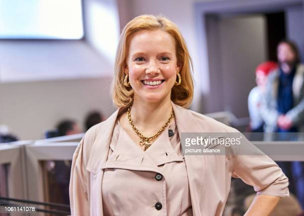 Actress Nina Rausch smiles during the press conference for the film Wendezeit The espionage thriller will be shot until 16 November in Berlin and...