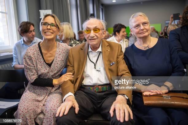 Anneke Kim Sarnau greatgranddaughter of Hans Söhnker Walter Frankenstein Holocaust survivor and Kathrin Reiher daughter of Heinz Gützlaff sit at the...