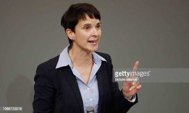 November 2018, Berlin: Frauke Petry speaks in the debate about the legal minimum wage in the German Bundestag. Photo: Carsten Koall/dpa