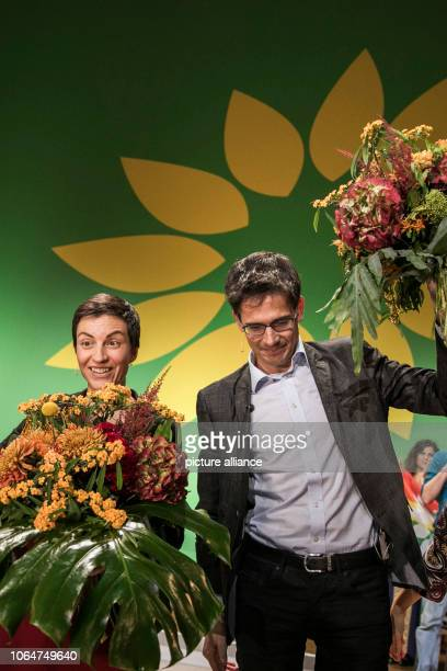 November 2018, Berlin: Ska Keller and Bas Eickhout rejoice at the 29th European Council of Bündnis 90/Die Grünen after their election as the leading...