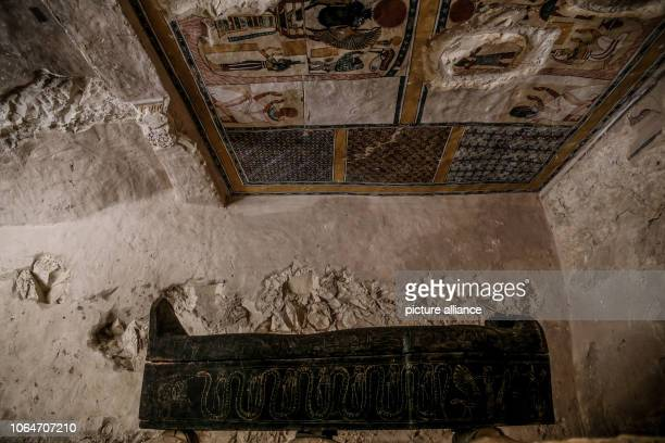 A general view of a sarcophagus inside a tomb at the alAssassif Necropolis The tomb of the overseer of the mummification shrine has been unearthed...