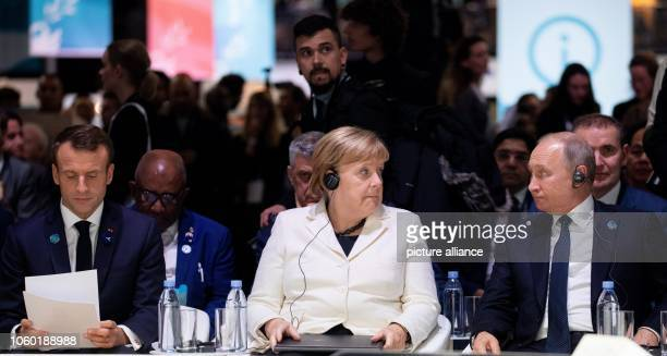 French President Emmanuel Macron German Chancellor Angela Merkel and Russian President Vladimir Putin will take part in the Paris Peace Forum on the...