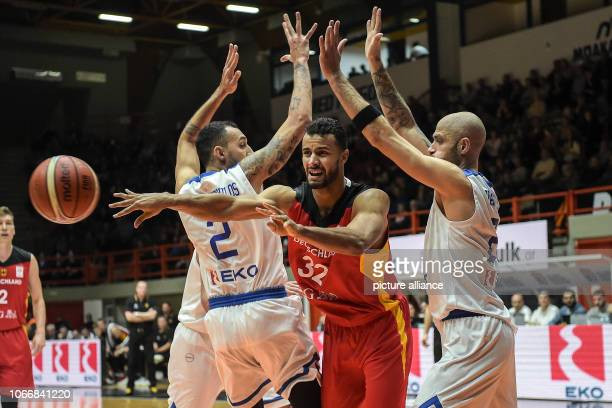 Basketball World Cup qualification Greece Germany Europe 2nd round Group L 3rd matchday German Johannes Thiemann is pressed by the Greeks Panagiotis...
