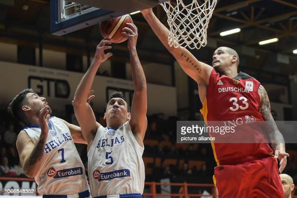 Basketball World Cup qualification Greece Germany Europe Round 2 Group L Matchday 3 The German Maik Zirbes and the Greeks Giannoulis Larentzakis and...