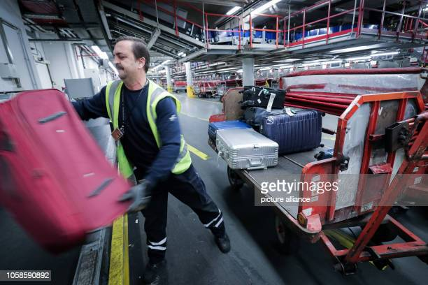An employee carries a bag from the baggage conveyor system in Terminal 2 at Hamburg Airport to a transport container Over the next few years Hamburg...
