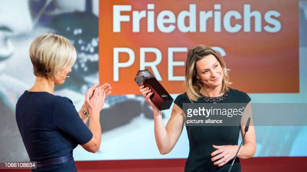 Anja Reschke television journalist receives the Hanns Joachim Friedrich Prize from Susanne Stichler television presenter The prize has been awarded...