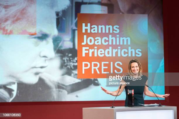 Anja Reschke television journalist speaks after being awarded the HannsJoachimFriedrichs Prize The prize has been awarded annually since 1995 for...