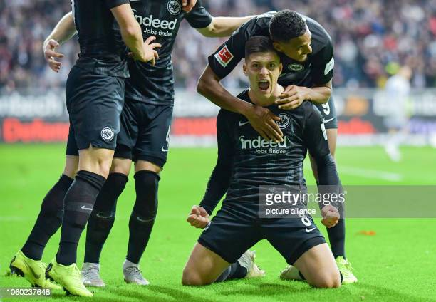 Soccer Bundesliga Eintracht Frankfurt FC Schalke 04 11th matchday in the Commerzbank Arena Frankfurt goal scorer Luka Jovic cheers with Frankfurt's...