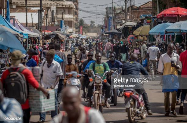 Motorcycles ride through the streets in the center of Mali's capital Bamako Von der Leyen is in Africa for a threeday visit and also visits the...