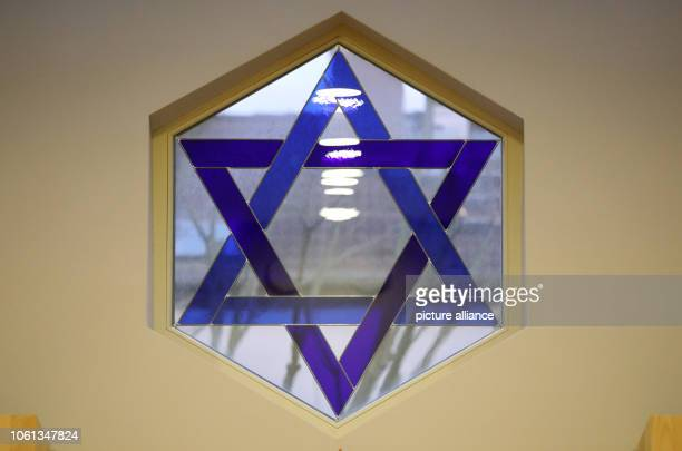 08 November 2018 MecklenburgWestern Pomerania Schwerin The Star of David in a window in the new synagogue of the Jewish community Photo Bernd...