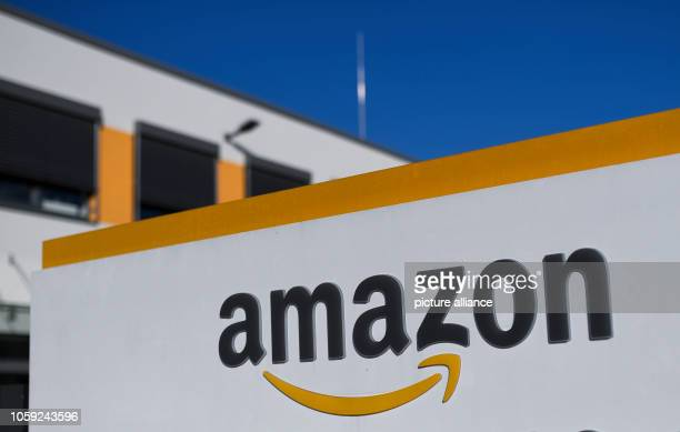 08 November 2018 North RhineWestphalia Dortmund The Amazon logo can be seen at the logistics centre In Europe's first redistribution centre automated...