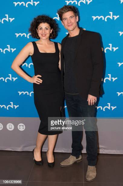 The German actors Liza Tzschirner and Philipp Danne are standing in the Hotel Elbresidenz on the occasion of the preview of the television film...