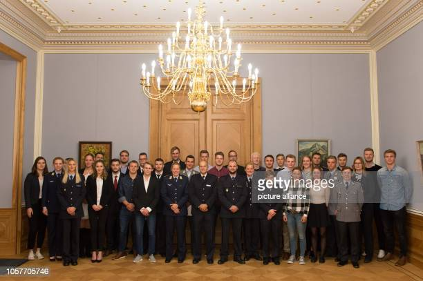 37 of the total of 67 Saxon athletes of the Team Tokyo 2020 are standing in the star room of the Lingnerschloss The athletes were appointed on the...