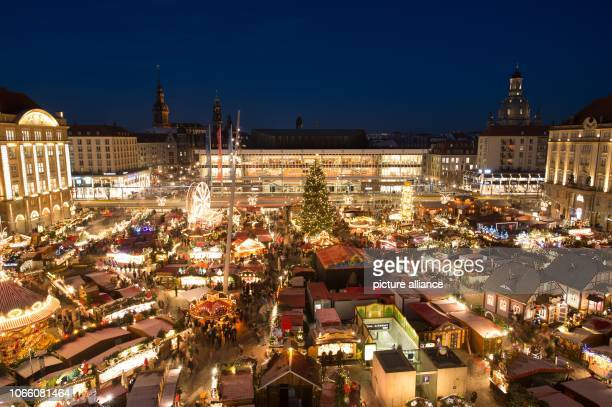 The sales stands on the Striezelmarkt are brightly lit The Christmas Market on Dresden's Altmarkt is open until 24 December Photo Sebastian...