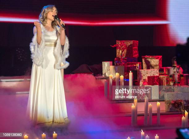 Singer Marie Wegener sings at the dress rehearsal before the recording of the MDR show Weihnachten bei uns The programme is to be broadcast on MDR on...