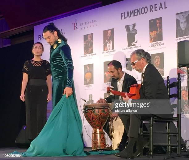 Flamenco dancer Amador Rojas and his ensemble perform at a press event to present a flamenco series at the Teatro Real For the first time flamenco...