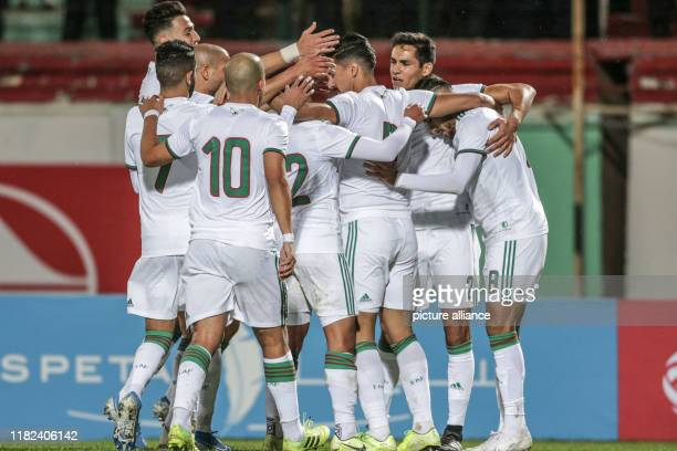 November 2019, Algeria, Blida: Algeria players celebrates scoring a goal during the 2021 Africa Cup of Nations qualifying Group Hsoccer match...