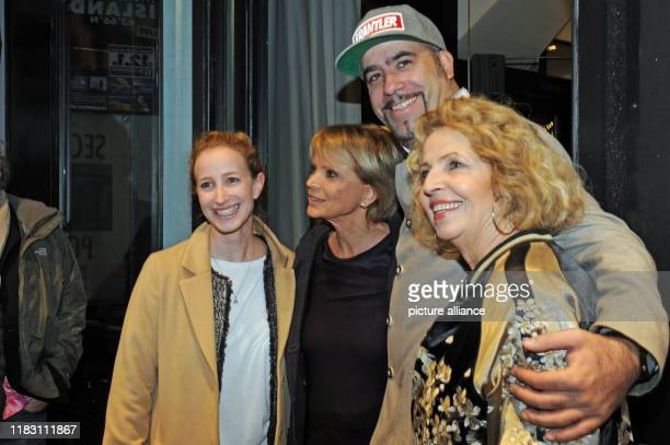 The actress Michaela May her daughter Lilian actress Uschi Glas and director Thomas Schwendemann come to the film premiere of the film Schmucklos Der...