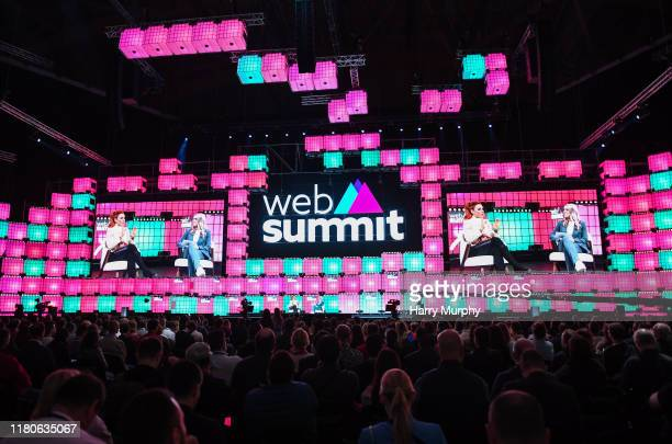 November 2019 Becky Lynch WWE Superstar WWE left and Emma Paton Presenter Sky Sports on Centre Stage during the final day of Web Summit 2019 at the...