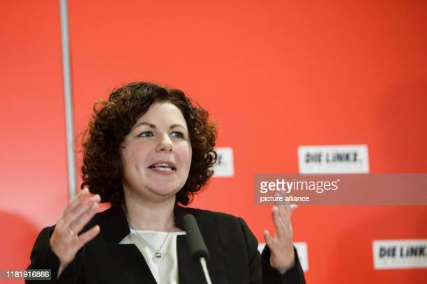 November 2019, Berlin: Amira Mohamed Ali, newly elected co-chairman of the Bundestag faction of the Left Party, addresses journalists after the...
