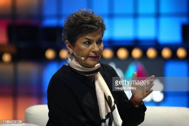 November 2019; Christiana Figueres, Founding Partner, Global Optimism, on Centre Stage during day two of Web Summit 2019 at the Altice Arena in...