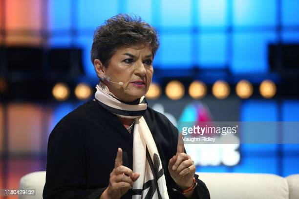 November 2019 Christiana Figueres Founding Partner Global Optimism on Centre Stage during day two of Web Summit 2019 at the Altice Arena in Lisbon...