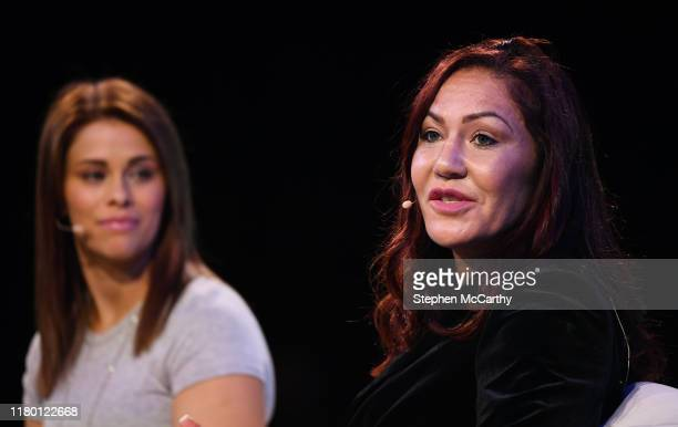 November 2019 Cris Cyborg 3x MMA Champion MMA fighter right and Paige VanZant Fighter UFC on SportsTrade Stage during the opening day of Web Summit...