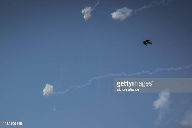 November 2019, Israel, Sderot: Iron Dome intercepting rockets that were fired from Gaza border. Israel and militants in the Gaza Strip exchanged fire...