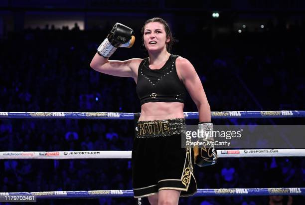 November 2019; Katie Taylor following her WBO Women's Super-Lightweight World title fight victroy ove Christina Linardatou at the Manchester Arena in...