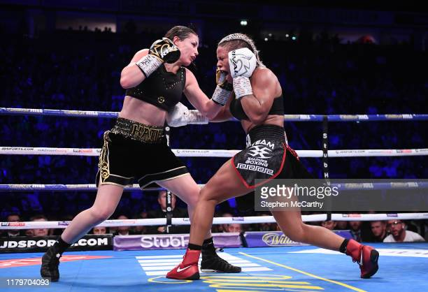 November 2019; Katie Taylor, left, and Christina Linardatou during their WBO Women's Super-Lightweight World title fight at the Manchester Arena in...