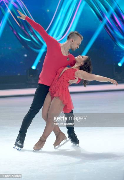 13 November 2019 North RhineWestphalia Cologne The actor Eric Stehfest and the figure skater Amani Fancy are standing in the studio on an ice rink...