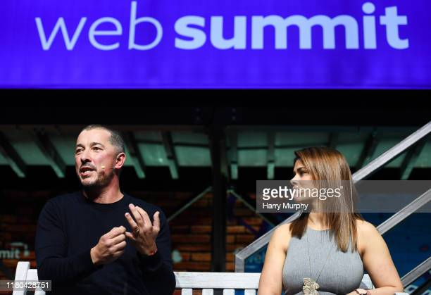 November 2019 Paige VanZant Fighter UFC right and Simon Oliveira Managing Director Kin Partners on PandaConf Stage during day two of Web Summit 2019...