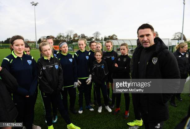 November 2019; Republic of Ireland assistant coach Robbie Keane with Metropolitan Girls League North & South U14 squads prior to a Republic of...