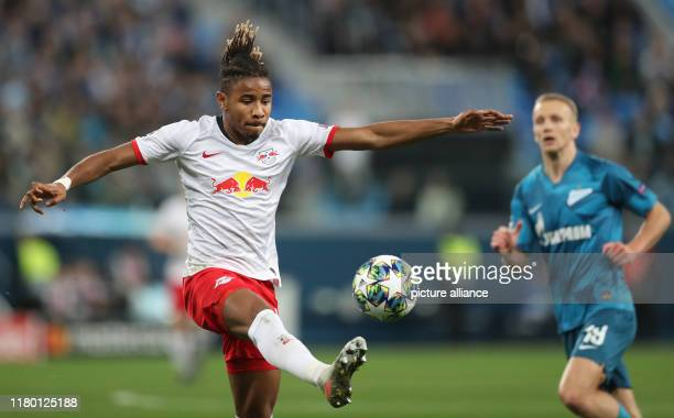 Soccer Champions League Group stage Group G Matchday 4 Zenit St Petersburg RB Leipzig in St Petersburg Stadium Leipzig's Christopher Nkunku and St...