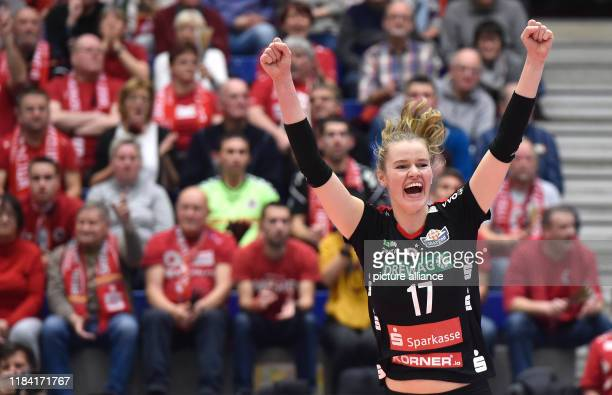 Volleyball women DVV Cup Dresdner SC Ladies in Black Aachen Dresden's Camilla Weitzel is happy about the victory Photo Matthias...