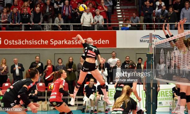 Volleyball women DVV Cup Dresdner SC Ladies in Black Aachen Dresden's Kadie Rolfzen smashes the ball Photo Matthias Rietschel/dpaZentralbild/dpa