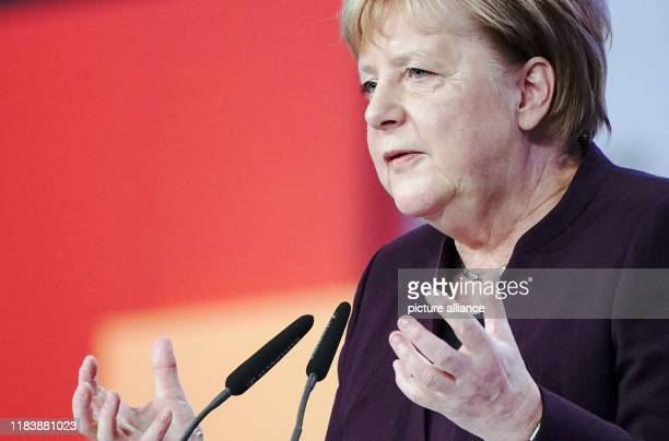 November 2019, Saxony, Leipzig: Chancellor Angela Merkel speaks at the CDU federal party conference. The party conference will last until 23 November...